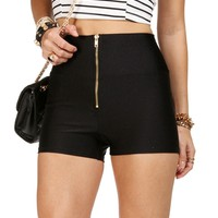 Black High Waisted Zip Shorts