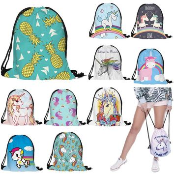 Unicorn Pineapple Rainbows Drawstring Bags Cinch String Backpack Funny Funky Cute Novelty