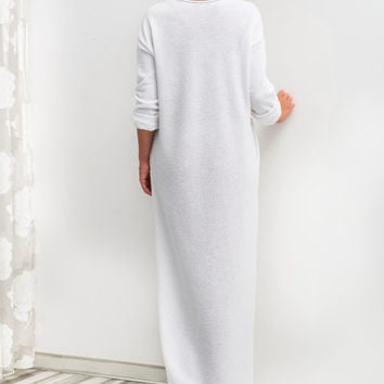 NEW SS16 White Cotton knit Long Dress, Column dress, Summer Dress, Long Dress, White dress, Spring Dress
