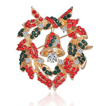 Hot Selling Alloy rhinestone Bell Wreath Brooch Corsage Charming Wild Jewelry Lapel Pin Brooches for Women Christmas Broches