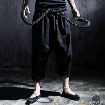 Cool Fashion Rock Black Mens Dress Linen Pants Hip Hop Drop Crotch Joggers Harem Men Pants Trousers With Sashes M-XXL