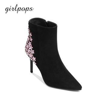 Leisure Kid Suede Ankle Boots For Women Genuine Leather Sole 9cm Thin High Heels Pointed Toe Zip Of girlpops 2018 Spring