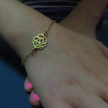 Gold rose bracelet, Dainty bracelet gold plated, Best friend bracelet gold Simple jewelry