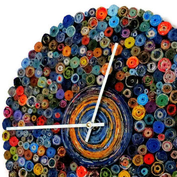 Large Wall Clock, Decor and Housewares, Blue and Orange,  Home Decor, Recycled Art,  Decor, Home and Living, Housewarming Gift