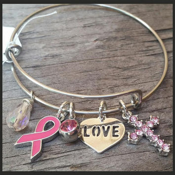 Breast Cancer Awareness Bracelet, Breast Cancer Survivor, Breast Cancer Jewelry, Breast Cancer Gifts, Breast Cancer Charms, Pink Ribbon