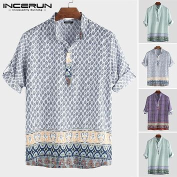 INCERUN 2019 Men Bohemian Hawaiian Shirt Print Loose Stand Collar Half Sleeve Tops Camisa Beach Casual Shirts Men Pullovers 5XL
