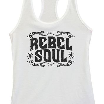 Womens Rebel Soul Grapahic Design Fitted Tank Top