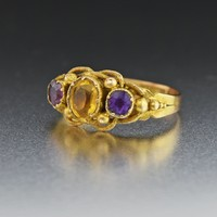 18K Gold Antique Citrine Amethyst Ring 19th Century