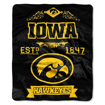 Iowa Hawkeyes NCAA Royal Plush Raschel Blanket (Label Series) (50x60)