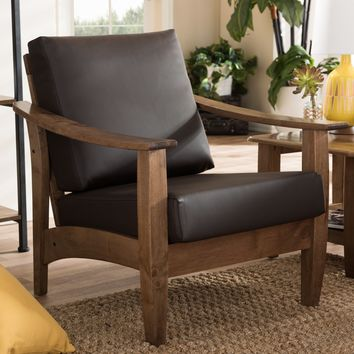 Baxton Studio Pierce Mid-Century Modern Walnut Brown Wood and Dark Brown Faux Leather 1-Seater Lounge Chair Set of 1