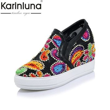 KARINLUNA New Fashion Big Size 32-45 Platform Women Shoes Mesh Embroidery Wedge Heels
