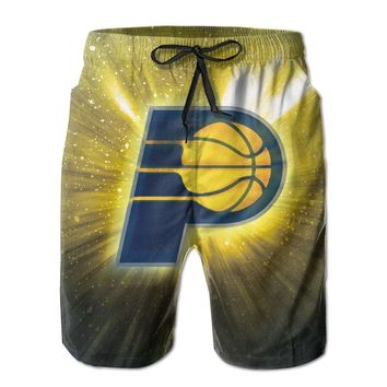 Indiana Pacers Colorful Logo Basketball Mens Fashion Casual Beach Shorts