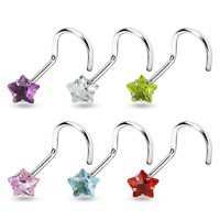 Star CZ Nose Screw Ring
