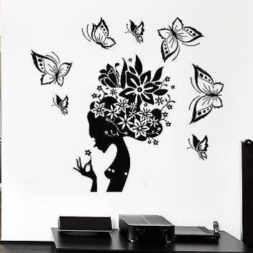 Wall Decal Pretty Butterfly Beauty Salon Woman Abstract Hair Stickers Unique Gift (ig2537)