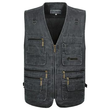 Bobing Mens 80% Cotton Fishing Vests Solid Color Multiple Pockets Toughman Vest Waistcoat Sleeveless Jackets Big Size XL-6XL