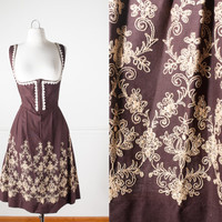 1970s Rose Dirndl Dress | Vintage 70s Dress Boho Peasant Dress Hippie Dress Bib Dress Oktoberfest Dress Prairie German Barmaid Brown Dress