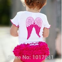 Hot sale summer baby girl clothes sets cute girl wing tops + shorts 2 pcs suit infant clothing