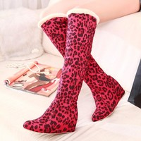 Leopard Print Round Toe Inside Heel Knee-length Boots