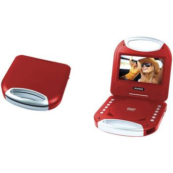 """SYLVANIA(R) SDVD7049-RED 7"""" Portable DVD Player with Integrated Handle (Red)"""