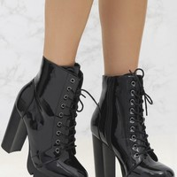 Black High Shine Lace Up Platform Boot
