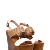 Woven Wonder Faux Leather Wedges