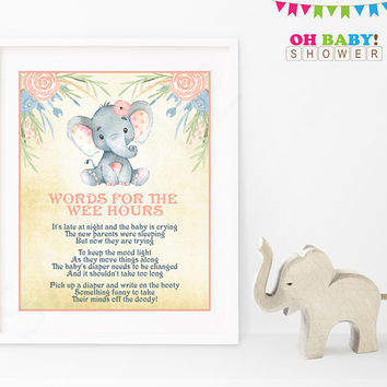 Late Night Diapers, Elephant Baby Shower Games, Words for Wee Hours, Diaper Thoughts, Girl Baby Shower Pink, Printable Instant Download ELWP
