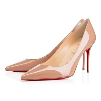 Christian Louboutin CL Decollete 554 Nude Patent Leather 85mm Stiletto Heel Classic Best Deal Online