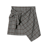 Check Print Self-Tie Accent Skirt