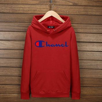 PEAPV9O Champion Fashion Print Cotton Long Sleeve Sweater Pullover Hoodie Sweatshirt Red G-YSSA-Z