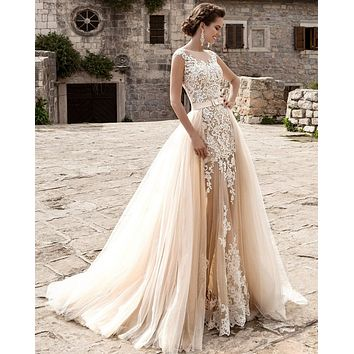 Luxury Champagne Mermaid Lace Tulle Wedding Dresses 2017 Sheer Scoop Neck with Detachable Train Bridal Gowns vestido de noiva