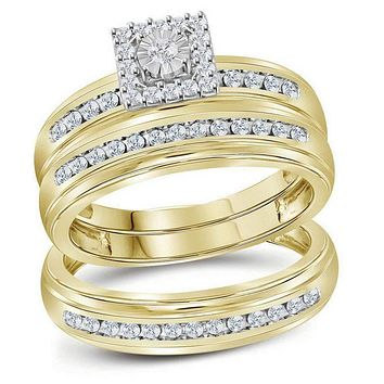 10kt Yellow Gold His & Hers Round Diamond Solitaire Matching Bridal Wedding Ring Band Set 1/2 Cttw - FREE Shipping (US/CAN)