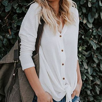 Womens Loose Fitting Henley Shirts Button Down Long Sleeve High Low Front Tie Tops V-Neck Shirts