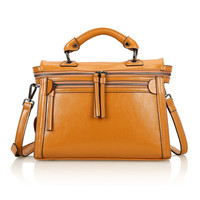 Leather Structured Doctors Bag Across Body Tote Bag w/ Removable Shoulder Strap-Khaki from KissBags