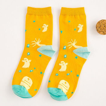 Yellow Halloween Print Socks for Women Autumn Winter Gift-08