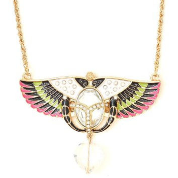 Crystal Caduceus Alchemy Necklace Gold Tone Pink Black Wings NM19 Heart Statement Pendant Fashion Jewelry