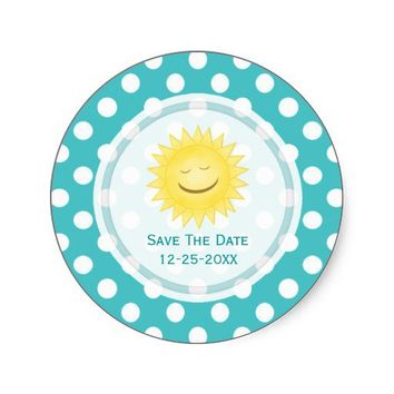 Sunshine Save The Date Stickers from Zazzle.com