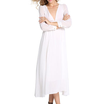 White Long Cuff Sleeve V-Neck Chiffon Maxi Dress
