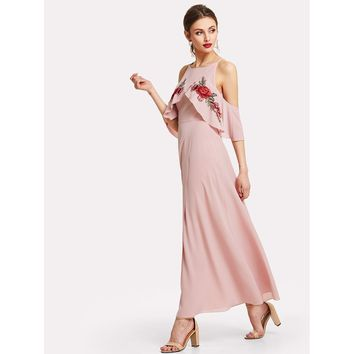 Pink Pastel Cold Shoulder Embroidery Ruffle Maxi Dress