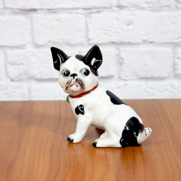 Vintage Boston Terrier or Bulldog Figurine Japan 1950s  / Black and White Collectible Dog