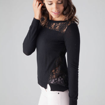 Rebecca Taylor Blocked Lace Pullover in Black