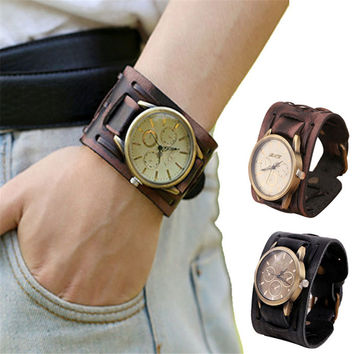 Newly Design Style Retro Punk Rock Brown Big Wide Leather Bracelet Cuff Men Watch