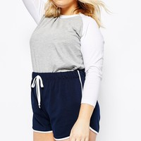 ASOS CURVE High Waist Runner Short with Binding at asos.com
