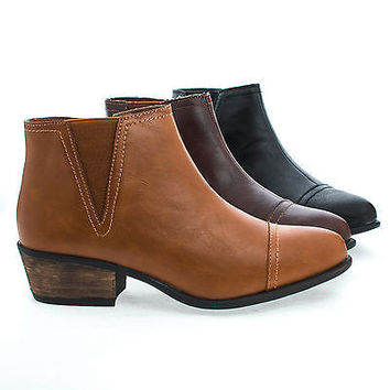 Sadie04 Brown Pu By Bamboo, Pointy Toe Western Zip Up Faux Wooden Heel Ankle Boots