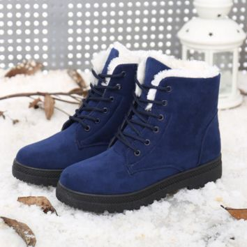 Winter snow boots women 's large code Mianxie short tube warm woman boots flat with and ankle boots