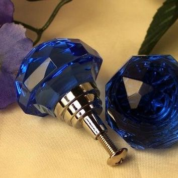 LARGE Light Cobalt Blue Solid Crystal Glass Drawer Pull