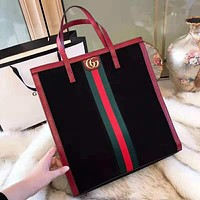 GUCCI High Quality Popular Women Shopping Leather Double G Stripe Handbag Tote Shoulder Bag Red
