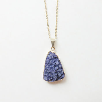 Purple Druzy Necklace | Purple Druzy Pendant | Purple Stone Pendant Necklace