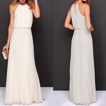Women's Ivory Halter Style Pleated Long Maxi Dress Perfect for Weddings Brides Showers Bridesmaids