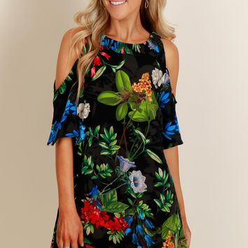 Jungle Fever Print Dress Black