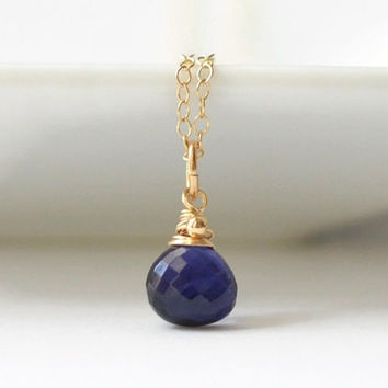 Iolite Necklace / Gold Iolite Pendant / Purple Gemstone Pendant Necklace / Wire Wrapped Briolette Necklace